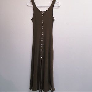 Vintage Brown Corduroy Maxi Dress w/ Ivory Buttons